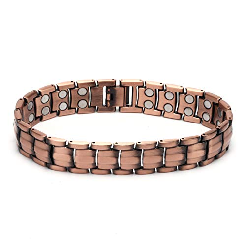 BTOP Men Red Copper Double Strong Magnetic Therapy Bracelet for Arthritis Pain Relief