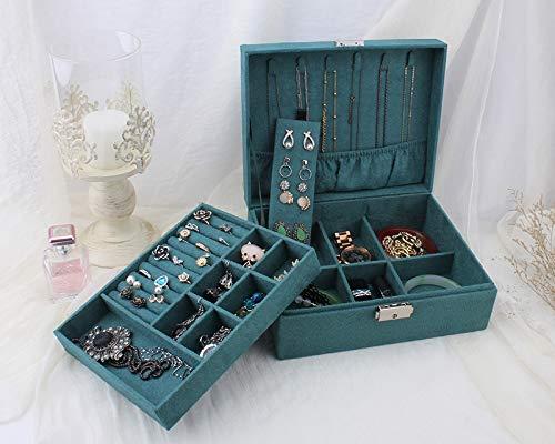 KFAWON Schmuck Veranstalter Lagerung, Doppelschicht Samt Schmuckschatulle Europäische Schmuck Aufbewahrungsbox Großraum Schmuckhalter Geschenkbox