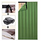 Thicken Cotton Door Curtain, Winter PU Heavy Duty Windshield Water Resistant Soundproof Cold Air Conditioner Door Panel Partition Curtain, Warm Winter for AC Room, Kitchen, Stair