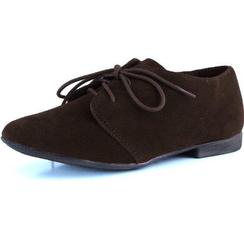 Breckelle's SANDY-31 Basic Classic Lace Up Flat Oxford Shoe,5.5 B(M) US,Light Brown-31W,5.5 C/D US