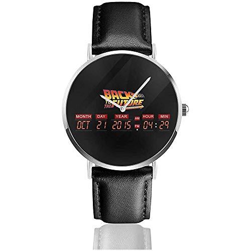 Delorean Countdown Time Machine Zurück in die Zukunft Uhren Quarzlederuhr mit schwarzem Lederband für Sammlungsgeschenk