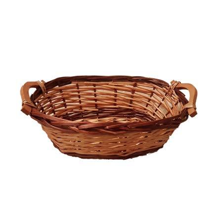 ovaler Korb aus geflochtenem Rattan-Holz, ideal als Geschenkkorb, zur Aufbewahrung, Küchenkorb, Brotkorb, Präsentkorb, Rattankorb leer, L 45cm x B 28cm x H 15cm