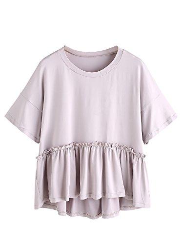 Romwe Women's Loose Ruffle Hem Short Sleeve High Low Peplum Blouse Top Grey L