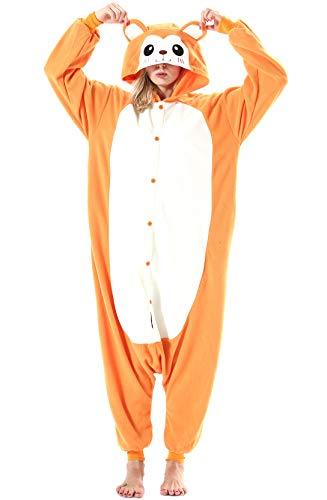 Jumpsuit Onesie Tier Karton Fasching Halloween Kostüm Lounge Sleepsuit Cosplay Overall Pyjama Schlafanzug Erwachsene Unisex Gelb AFFE for Höhe 140-187CM