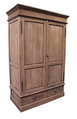 Teaktown Teak DIELENSCHRANK SE45-3 Teakholz antik massiv 200x120 Kleiderschrank Schrank Möbel