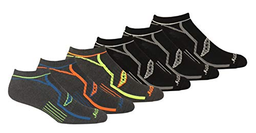 Saucony Men's Multi-Pack Bolt Performance Comfort Fit No-Show Socks, Grey (6 Pairs), Shoe Size: 8-12
