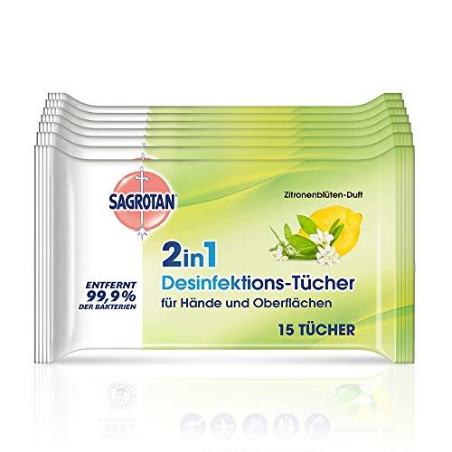 Sagrotan - Toallitas desinfectantes 2 en 1 (aroma de flores de limón, 7 paquetes de 15 unidades)