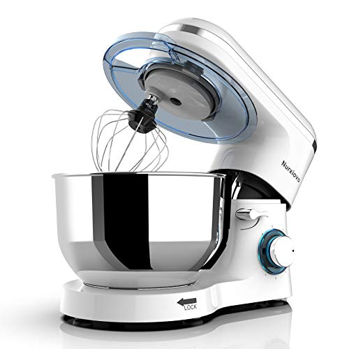 Nurxiovo 6-Speed Electric Mixer 6.5QT Stand Mixer Kitchen Tilt-Head Food Mixer with Stainless Steel Bowl 660W Dough Hook Whisk Beater White
