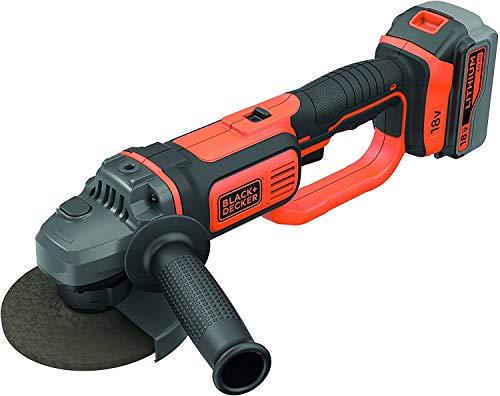 BLACK+DECKER BCG720M1-QW Meuleuse d'angle sans fil - 8 600 trs/min - Changement d'accessoire avec outil - 1 disque de tronçonnage - Livrée en sac de rangement, 18V, Orange/Noir, 1 batterie