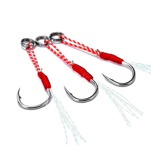 PUAK523 Assist Jig Fishing Hooks-5Pcs Hi-Carbon acciaio Assistente pesca ami con treccia PE linea accessori pesca (16 #, come da immagine)