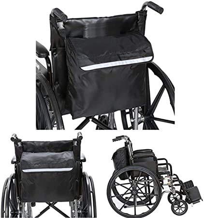 Bolsa para silla de ruedas trasera para silla de ruedas, resistente al agua, Oxford, accesorios para silla de ruedas, bolsa de almacenamiento con tiras reflectantes para asas de silla de ruedas