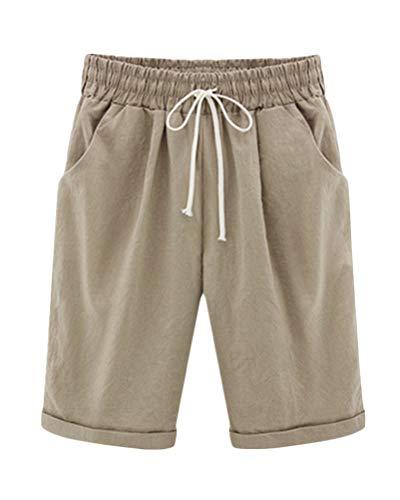 Minetom Pantaloncini Estate Elastico in Vita da Donna Bermuda Spiaggia Shorts Pantaloni Corti Vita Alta Puro Colore Casual Elastica Hotpants Shorts Cachi 2X-Large