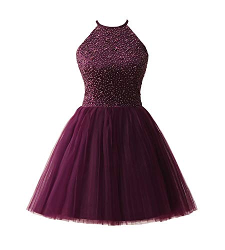 Ubridal Short Beading Keyhole Back Tulle Homecoming Dresses Prom Gowns purple 6