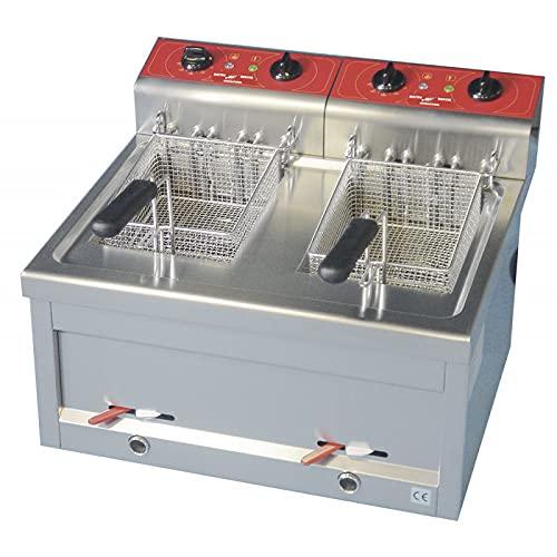 Freidora eléctrica de Encimera con cubeta embutida, 2 x 12 litros