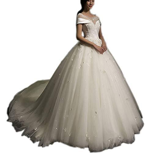 Melisa A-Line Sleeveless Lace & Satin Wedding Dresses for Bride Vintage Elegant Applique Bridal Ball Gown White