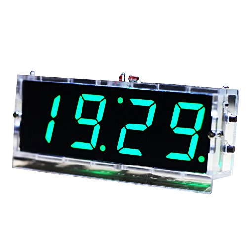 KKmoon Kompakte 4-stellige DIY LED Digitaluhr Kit Light Control Temperaturanzeige Datum Zeit mit transparenten Etui (Grün)