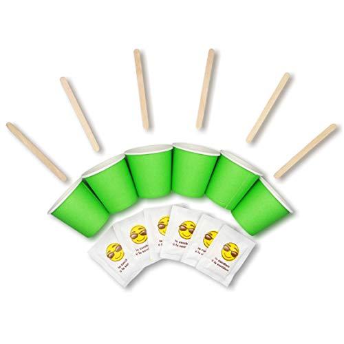 Kit d'accessoires pour café – 150 verres à shot jetables, biodégradables – sachets de sucre et bâtons en bois – pour boissons chaudes et froides, café long, macchiato, expresso – 75 ml (vert)