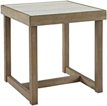 Signature Design by Ashley Challene Contemporary End Table with Faux Carrara Marble Top, Light Gray & Brown