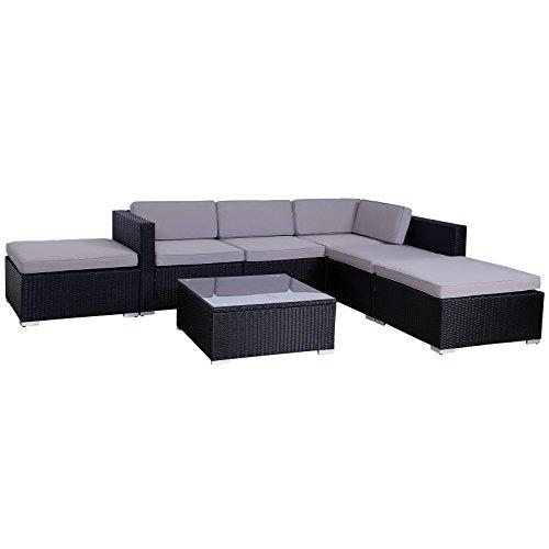 POLY RATTAN Lounge Gartenset Sofa Garnitur Polyrattan Gartenmöbel (XL, Schwarz) - 3
