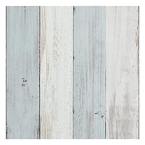 Vinilo Adhesivo para Muebles y Pared, 40 x 200 cm, Madera Vintage, Color Azul y Beige, VNL-134