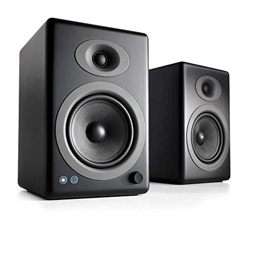 Audioengine A5+ 150W Wireless Powered Bookshelf Speakers, Bluetooth aptX HD 24 Bit DAC, Built-in Analog Amplifier & Remote Control (Black)