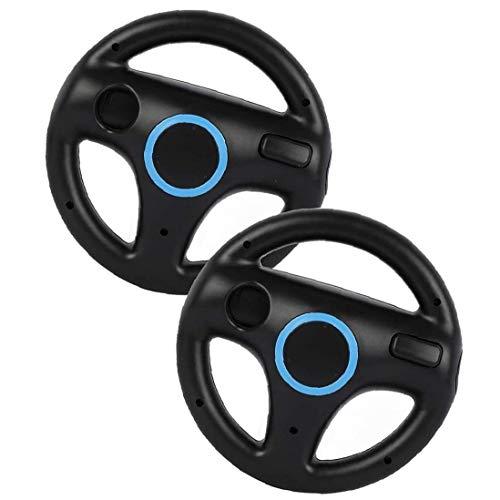 Gracy Las Carreras de Ruedas Sillas de Juego de Carreras del Volante Controlador de Wii Wheel Compatible con el Mando de Wii Juego Negro 2 Piezas, Gamepad