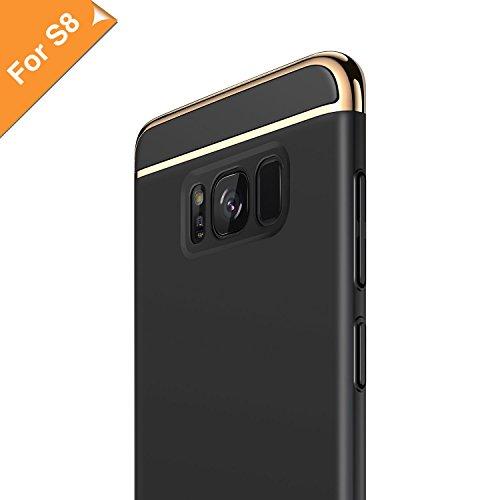 RANVOO Cover Samsung Galaxy s8, s8 Cover 3 in 1 Struttura antipieghe Antiurto in lamiera elettrolitica con Superficie Rivestita Custodia Eccellente per Grip per Samsung Galaxy s8 Plus, Nero