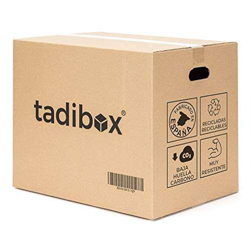 Tadibox XL - 6 Cajas de cartón para mudanza y almacenaje grandes con asas - Fabricadas en España - 55x35x40cm - Resistente con canal doble - Eco box