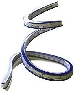 T&B 60cm 曲線ルーラー クラフト 定規 テープ メジャー 柔軟 測定 軟質プラスチック製 フレキシブルカーブルーラーヘリックス製図図面測定ツールソフトプラスチックテープメジャールーラーブルー/ホワイト