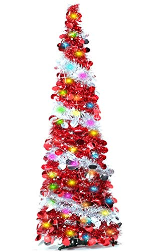 TURNMEON Artificial Christmas Tree with 50 Color Lights Battery Operated, 5 Feet Pop Up Tinsel Xmas Tree with Balls Ornaments for Home Party Office Fireplace Holiday Xmas Decorations Indoor(Red)