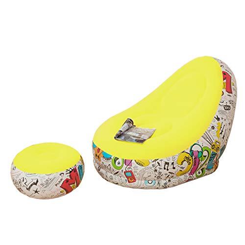 Ponacat Aufblasbarer Liegestuhl mit Ottomane, aufblasbar, Liegestuhl für drinnen und draußen