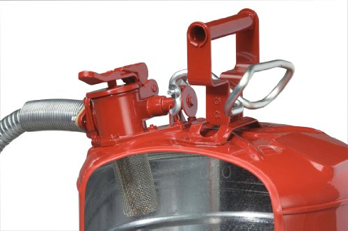 Justrite 5 Gallon Red AccuFlow Galvanized Steel Type II Vented Safety Can With Stainless Steel Flame Arrester And 1