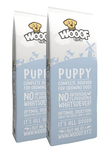 WOOOF Welpen 36kg kaltgepresstes Hundefutter mit Rindfleisch | Purinarmes Trockenfutter, leicht verdaulich, ohne Weizengluten