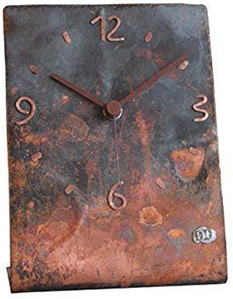 Copper Table Clock 9 Inch Rectangle Decorative Rustic Metal Original Silent Non Ticking Quartz For Living Room Medium