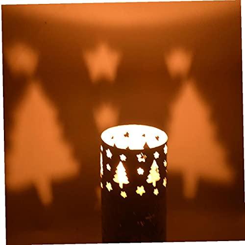 Tuimiyisou La Pared del sostenedor de Vela de Navidad Hueco Hierro Forjado Candelabro Candelabro Creativo Festival Ambiente artesanales Adornos Adornos (árbol de Navidad, Blanco)