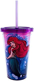 Silver Buffalo DN31087Q Disney's Little Mermaid Princess Ariel Plastic Cold Cup with Reusable Shell Ice Cubes, 16 oz, Multicolor