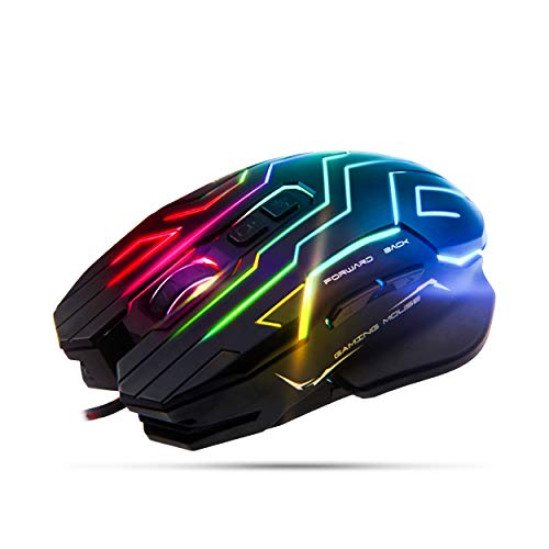 Meetion Gaming Mouse Lightweight with 6 Buttons, 200-4800 DPI, 3D Anti-Slip Roller, Computer Mice RGB Gamer Desktop Laptop PC Gaming Mouse
