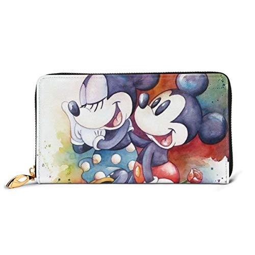 Mickey Mouse Geldbörse mit RFID-Schutz, Echtleder, Reißverschluss, Kartenhalter, Organizer, Brieftasche