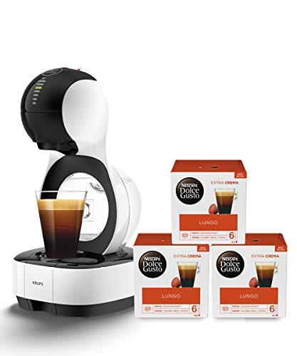 Krups KP1301 Nescafé Dolce Gusto Lumio Kapsel Kaffeemaschine, weiß, 1,0 l + Lungo Kaffeekapseln (100 Prozent Arabica Bohnen, Aromaversiegelte Kapseln) 3er Pack (3 x 16 Kapseln)