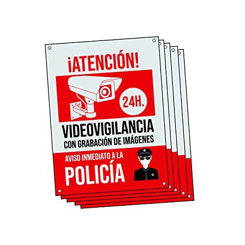 Cartel videovigilancia - Placa alarma conectada - Carteles zona videovigilada - Aviso a la Policía 20x15 cm Rojo Interior/Exterior (5 Piezas Cartel videovigilancia)