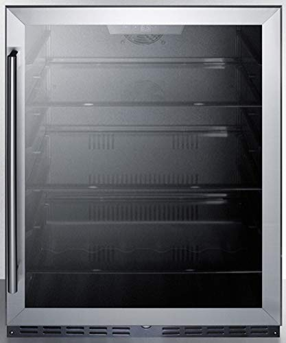 """Summit Appliance AL57G Commercial 24"""" Wide 5.0 Cu.Ft. Built-in Undercounter ADA Compliant Beverage Center with Glass Door, Black Cabinet, Factory Installed Lock and Digital Controls"""