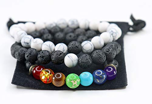 Yoga is Lyfe - Anxiety Bracelets Chakra Bracelets Aromatherapy Healing Bracelets Lava Rock Stone Reiki Meditation Bracelets Stones Yoga Beads Essential Oil Bracelets Gifts for Women Kids Men (Black)