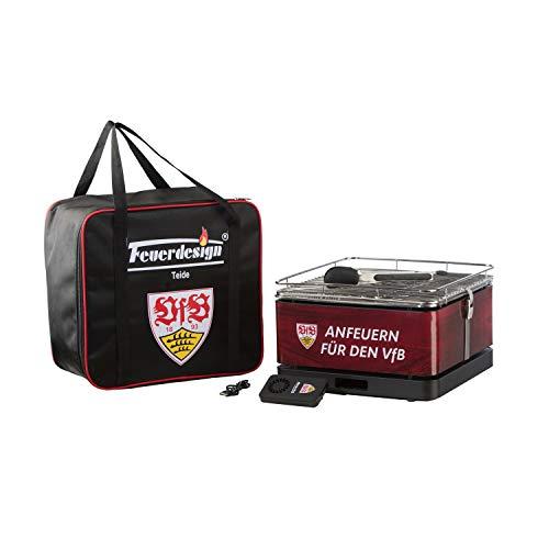 VfB Stuttgart Feuerdesign TEIDE Holzkohle-Tischgrill | wiederaufladbarer Lüfter-Motor für rauchfreien Grillspaß | Holzkohlegrill mit Grillzange + Tragetasche | offizielles Lizenzprodukt