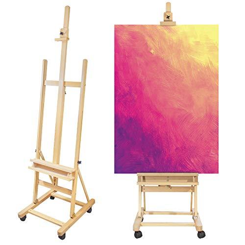 Pablo, caballete de pintura LOMOS de madera para lienzos de hasta 130cm con ruedas