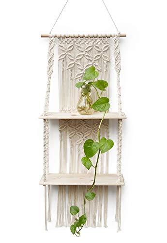 N / A Wandregal Holz Wand Regal Makramee Boho Wandbehang Quaste Handgewebte Schweberegal Badezimmer Home Wanddeko