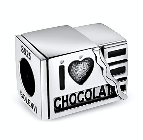 BOLENVI Colgante de plata de ley 925 con colgante de barra de chocolate para pulseras o collares de Pandora y similares