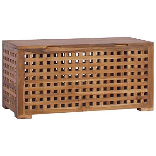 vidaXL Teak Massiv Box für Seil Aufbewahrungsbox Holzkiste Holztruhe Holzbox Truhe Bank Holzbank Sitzbank Truhenbank Aufbewahrungstruhe 80x40x40cm