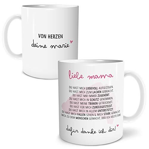 OWLBOOK Danksagung Mama große Kaffee-Tasse mit Namen personalisiert im Geschenkkarton Geschenkidee Geschenke Muttertag Muttertagsgeschenk Mutti Mutter