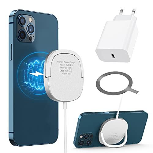 Magnetisches kabelloses Ladegerät Kompatibel mit iPhone 12/12 Mini / 12 Pro max/AirPods, Schnellladeständer Kompatibel mit Samsung Galaxy S20 / Note 10 / S10 / S9, Qi-Schnellladepad