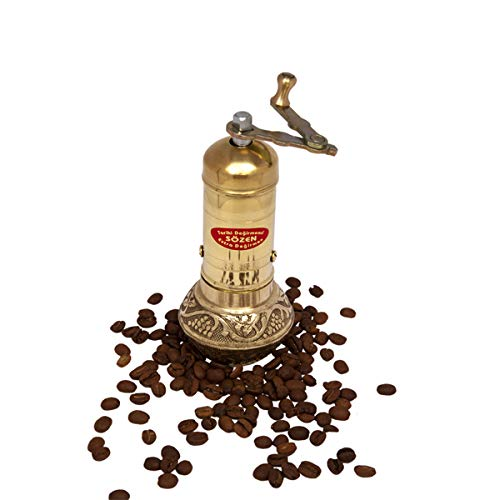 "6.4"" Handmade Manual Brass Coffee Mill Grinder Sozen, Portable Conical Burr Coffee Mill, Portable Hand Crank Turkish Coffee Grinder"